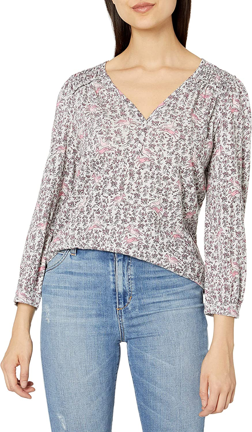 Lucky Brand Women's Large discharge sale 25% OFF Long Sleeve V Neck Printed T Smocked Peasant