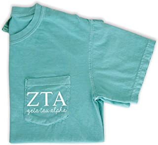 Zeta Tau Alpha Letters Pocket Tee Sorority Comfort Colors T-Shirt