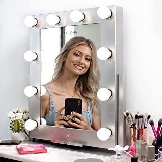 """REBEL POPPY Vanity Mirrors with LED Lights, Phone Mount, Dim Lighting Touch Control, 21.5"""" x 19"""", Fogless - Hollywood Mirror and Magnifying Set - GLAM Silver"""