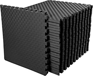 BalanceFrom 1 Extra Thick Puzzle Exercise Mat with EVA Foam Interlocking Tiles for MMA, Exercise, Gymnastics and Home Gym Protective Flooring, 72 Square Feet (Black)