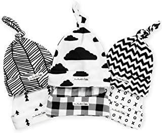 BaeBae Goods Baby Beanie Set for Newborn Boys & Girls | 100% Adjustable Knot Hats | 6 Pack of Fitted Caps Black