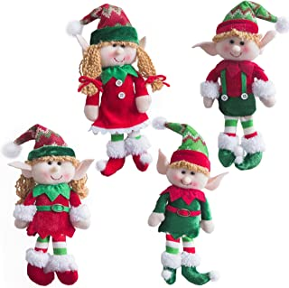 WEWILL Adorable Flexible Christmas Elves Dolls -Set of 4 Party Home Decoration Holiday Plush Characters 12-Inch