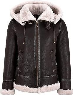 Ladies Sheepskin Jacket B3 Bomber Detachable Hood Classic WW2 Shearling Jacket
