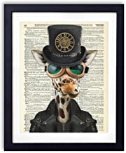 Steampunk Giraffe Upcycled Vintage Dictionary Art Print 8x10