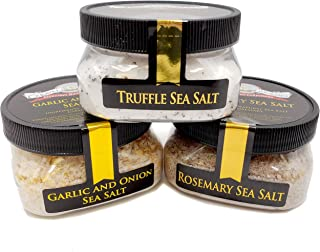 Pizza Maker's Sea Salt Collection 3-Pack: Truffle, Rosemary, Garlic & Onion - Great Flavors for Making Authentic Pizzas - Non-GMO, Gluten-Free, No MSG (12 total oz.)