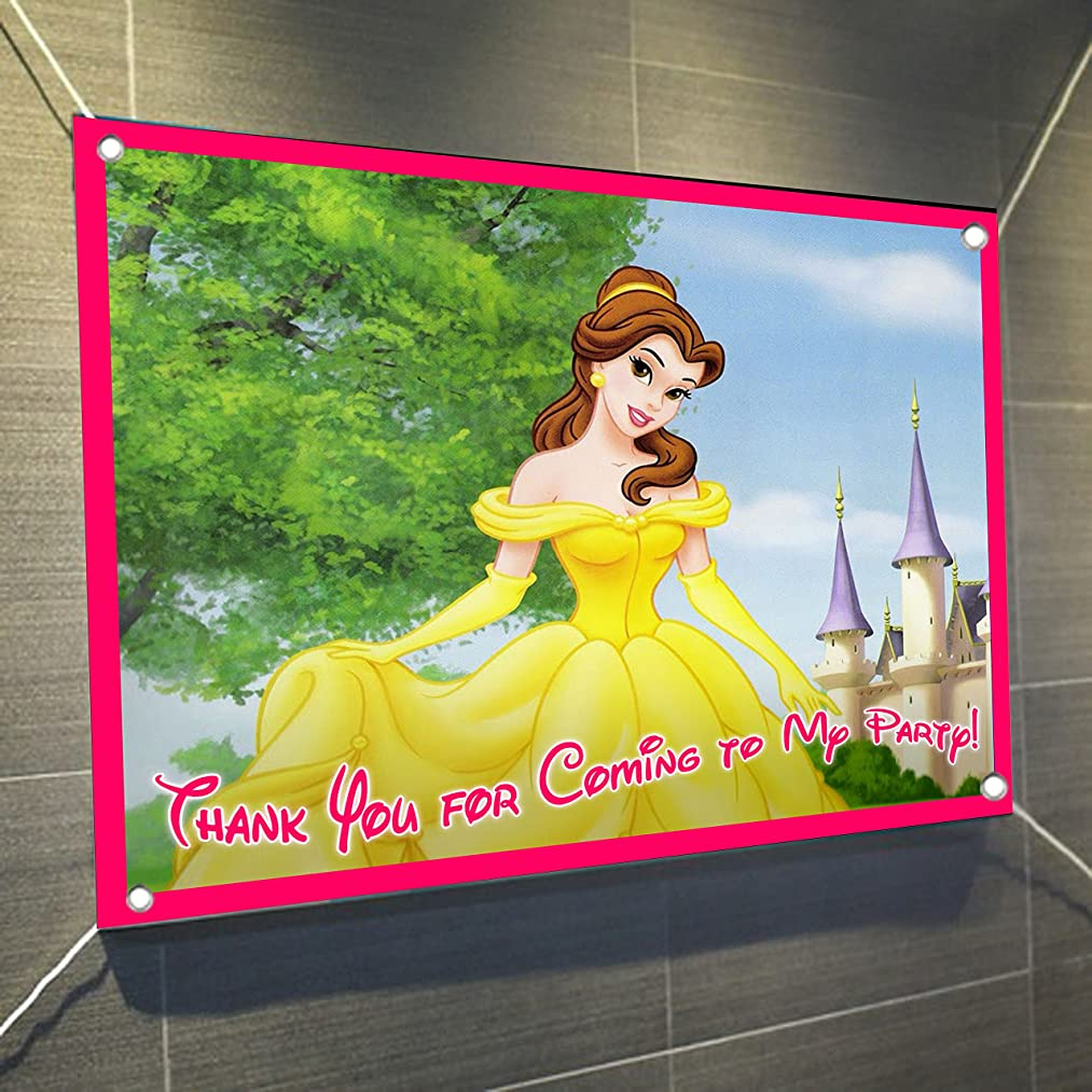 Belle Banner Beauty and the Beast Large Vinyl Indoor or Outdoor Banner Sign Poster Backdrop, party favor decoration, 30