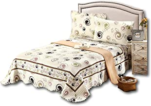 Tache Home Fashion DSW019-King 3 PC Cotton Off White Brown Modern Geometric Summer Storm Reversible Bedspread Quilt Set, K...