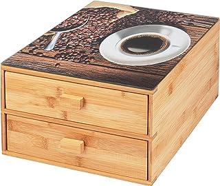 bremermann Boîte à capsules de café en bambou avec plateau en verre décoratif.
