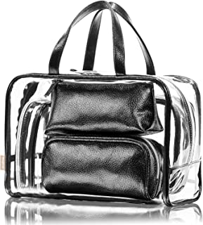 NiceEbag 5 in 1 Cosmetic Bag & Case Portable Carry on Travel Toiletry Bag Clear PVC Makeup Train Case Quart Luggage Pouch Transparent Handbag Beach Tote Bag Organizer for Men and Women (Black)