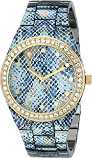 GUESS Women's U0583L1 Ice Blue Python-Print Gold-Tone Watch with Genuine Crystals