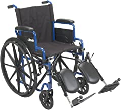 Drive Medical Blue Streak Wheelchair with Flip Back Desk Arms, Elevating Leg Rests, 16 Inch Seat