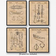 Original Canoe Patent Art Poster Prints, Set of 4 (8x10) Unframed Photos, Great Wall Art Decor Gifts Under 20 for Home, Office, Garage, Man Cave, Shop, Student, Teacher, Hiking, Rafting & Camping Fan