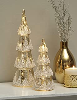 The Lakeside Collection Lighted Glass Trees for Christmas, Holidays - Set of 2