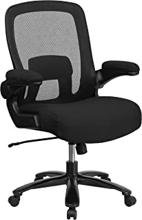 Flash Furniture Big & Tall Office Chair   Black Mesh Executive Swivel Office Chair with Lumbar and Back Support and Wheels