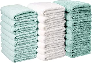 AmazonBasics Cotton Hand Towels - Pack of 24, Multi-Color Seafoam Green, Ice Blue, White