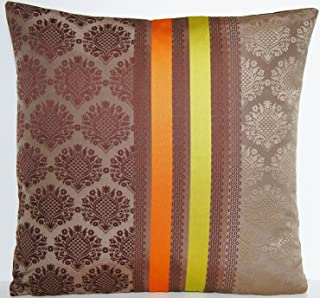 Brown Silk Decorative Pillow Throw Designers Guild Material Cushion Cover Fabric Cocoa Orange Stripe Jacquard Perrault