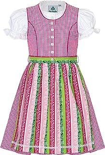 Trachterbahn Trachtendirndl Kinder Dirndl 3-TLG. Kleid Bluse Schürze für Mädchen Oktoberfest Kirchweih Hochzeit Sonntagausflug