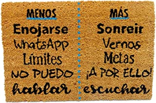Koko DOORMATS felpudos Entrada casa Originales, Fibra de Coco y PVC, Felpudo Exterior Menos Y MÁS, 40x60x1.5 cm | Alfombra...