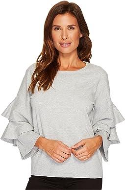CeCe - Tiered Ruffle Sleeve Crew Neck Sweater
