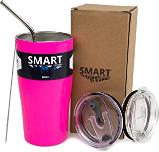 Tumbler 20 Oz Smart Cup - Ultra-Tough Double Wall Stainless Steel - Yeti Style - Premium Insulated Mug - Powder Coated - Leak-Proof, Sliding Lid, Straw, Brush & Gift Box - Neon Pink