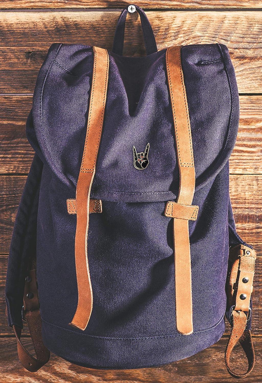 Hats Hand Symbol Lapel Pin for Backpacks Occult Bags Real Sic Hail Satan Horns Pin Rock//Heavy Metal Hand Symbol Enamel Pin Jackets /& Tops