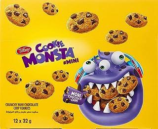 Tiffany, Cookie Monsta, Crunchy Mini Chocolate Chip Cookies, 32g x 12