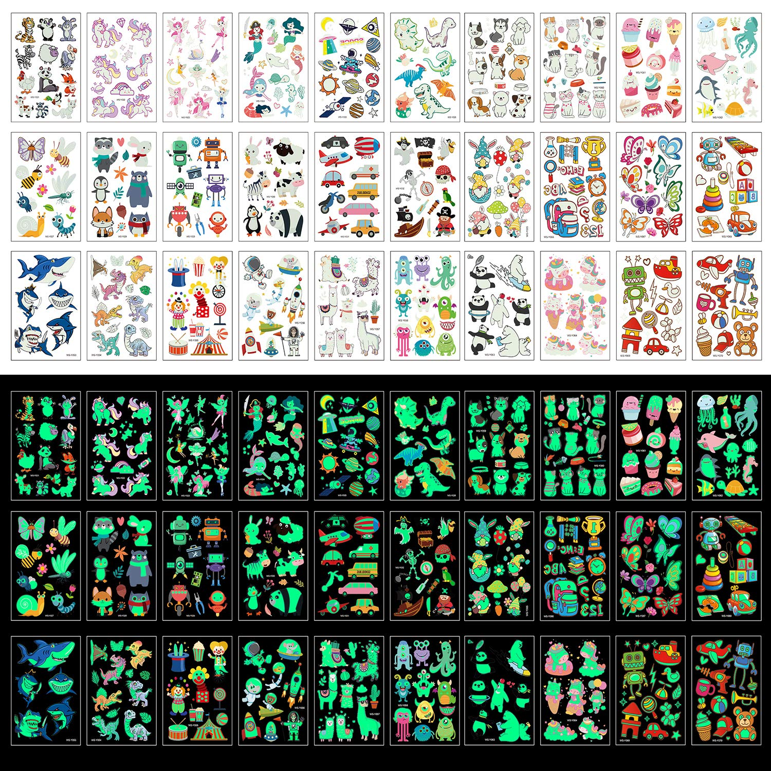 Zayvor Temporary Tattoos For Kids 400pcs The Glow In Super intense SALE Tatto Recommended Dark