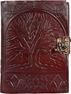 Unicorn Hand Tooled Burgundy Leather Journal Diary Notebook