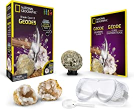 NATIONAL GEOGRAPHIC Break Open 2 Geodes Science Kit – Includes Goggles, Detailed Learning Guide and Display Stand - Great STEM Science gift for Mineralogy and Geology enthusiasts of any age