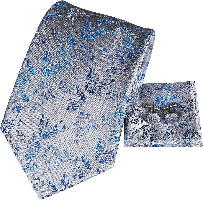 Hi-Tie Mens Silk Necktie with Gold Tie Chain Pocket Square Set for Business Wedding (N-GG3028)