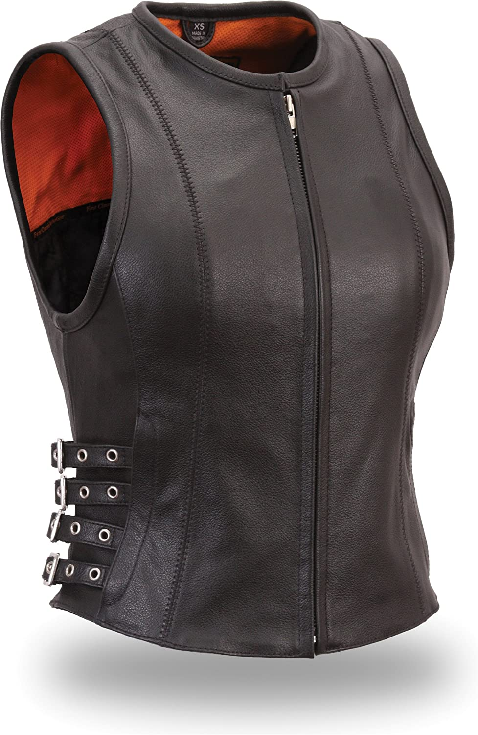 First Manufacturing Women's Buckled Zip Front Vest (Black, Large)