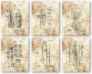 Original Wind Ensemble Instruments Horns Artwork - Set of 6 8 x 10 Unframed Patent Prints - Great Gift for Musicians, Music Studios, Practice Room
