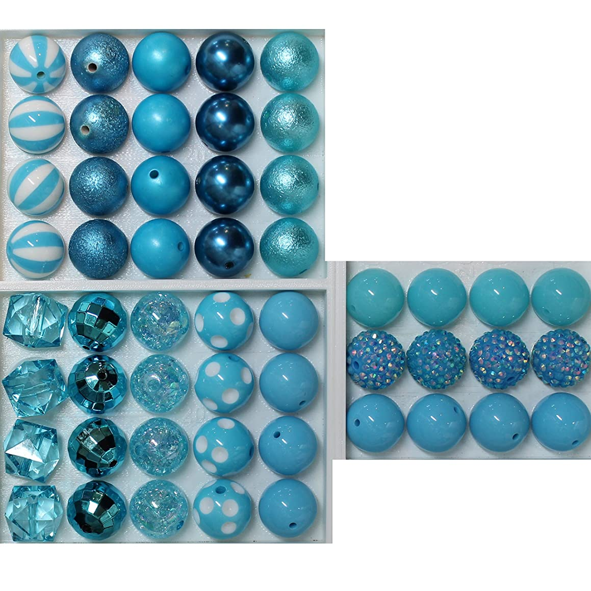 20mm Bulk Mix of 52 Cyan Blue Chunky Bubblegum Beads 11 Styles Acrylic Gumball Beads Lot