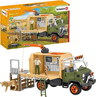 Schleich Wild Life 10-piece Animal Rescue Toy Truck with Ranger and Animals Playset for Kids Ages 3-8 Multicolore, 11 x 39...