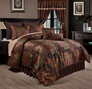 Chezmoi Collection Amelia 9-Piece Floral Jacquard Patchwork Comforter Set, Queen