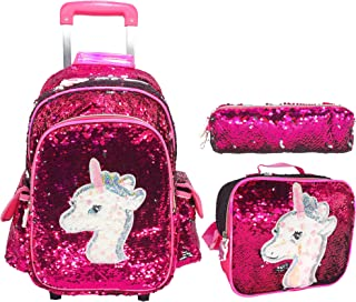 UNICORN Kids Rolling TROLLEY Backpack Bag for Girls Backpack with Wheels Backpack for Girls for School with Lunch BOX AND ...