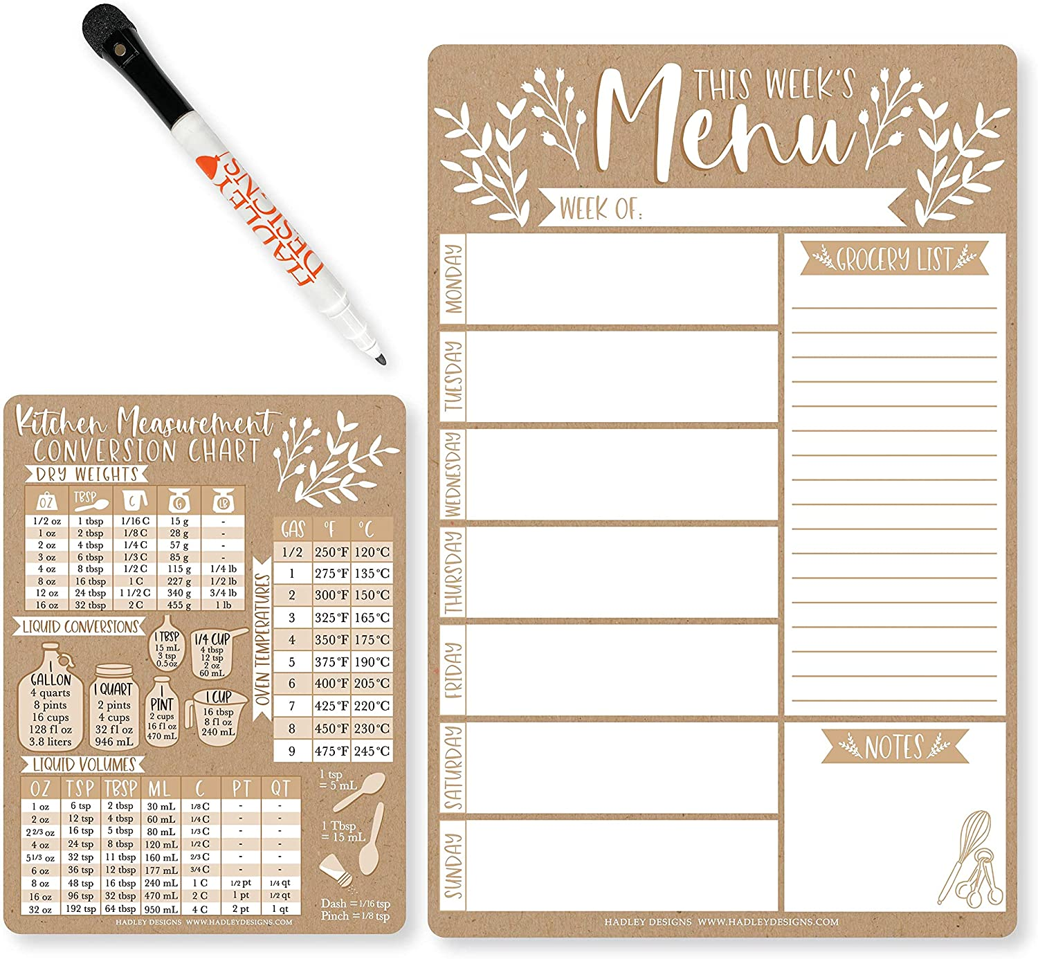 Magnetic Meal Planner for Refrigerator - Rustic Magnetic Weekly Menu Board for Kitchen Conversion Chart Magnet, Weekly Meal Planner Dry Erase Board for Refrigerator, Magnetic Menu Board for Fridge