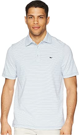 Vineyard Vines Golf Heathered Wilson Stripe Performance Polo