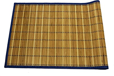 Emerald Wholesale Bamboo Mat Runner with Foam Non-Skid Backing, 24 x 60, Blue