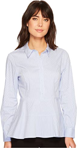 Ivanka Trump - Cotton Stripe Collar Peplum Blouse
