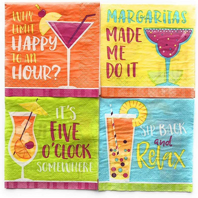 Cocktail Napkins For Wine Party Cocktail Napkins For Girls Night 64 Total Napkins