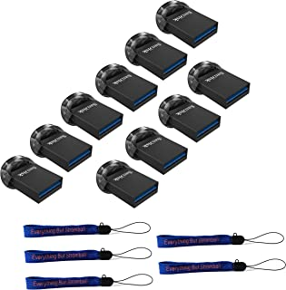 SanDisk 32GB Ultra Fit USB 3.1 Low-Profile Flash Drive (10 Pack Bundle) SDCZ430-032G-G46 32G Pen Drive - with (5) Everything But Stromboli (TM) Lanyard