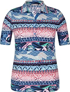 Raven Womens Striped Floral Polo Shirt