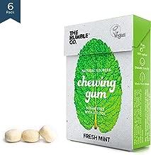 Natural Chewing Bubble Gum (6pk) - Organic, Vegan, Sugar Free, Aspartame Free, Non GMO, 100% Xylitol (Peppermint)