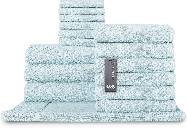 Chortex Turkish Cotton 16 Piece Towel Set, Set of 16, Duck Egg