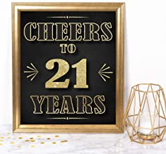 Katie Doodle 21st Birthday Decorations for Him Her Party Supplies Centerpiece | Includes 8x10 Cheers to 21 Years Sign [Unframed], Gold & Black