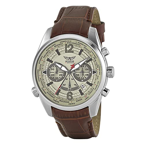 Aviators Watch by Aviator F-Series - Aviators Brown Strap Beige Dial and Luminous Indices