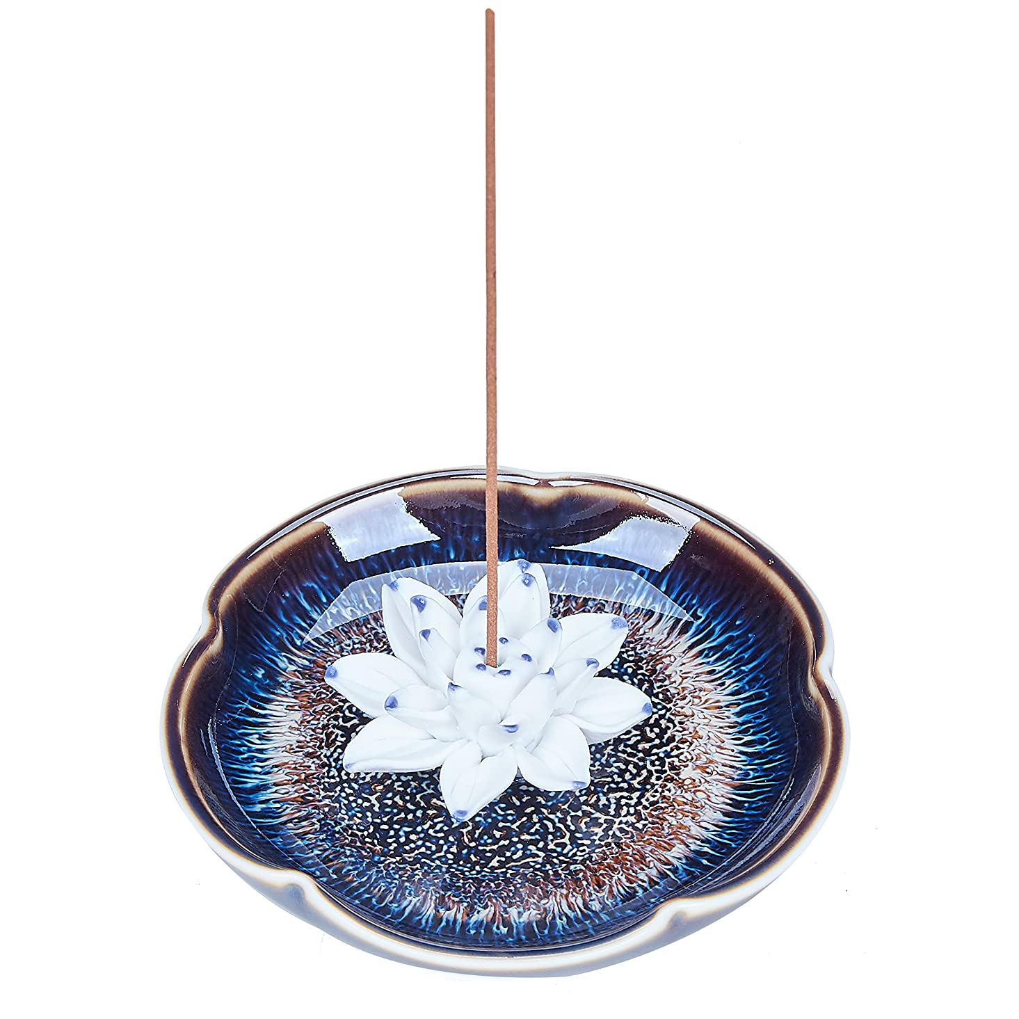崩壊うなずくアシュリータファーマンUOON Incense Stick Burner Holder - Handmade Ceramic Lotus Flower Incense Burner Bowl Ash Catcher Tray Plate (Lake Blue)