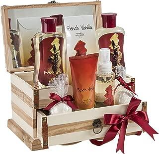 French Vanilla Bath Set, Essential Bath and Body Basket: 2 Vanilla Bath Bombs, Vanilla Body Lotion, Body Spray, Bath Salts, Shower Gel, Bubble Bath, in A Luxury Wooden Jewelry Box Gift for Women