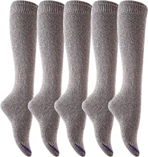 Lian LifeStyle Women's 5 Pairs Pack Knee High Cotton Socks Size(Grey)